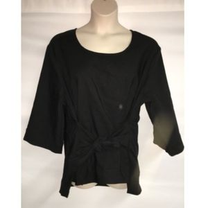 Seven7 Blouse Tie Front Black Plus Size 4X Black